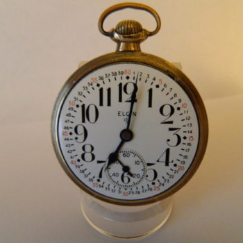 Elgin B. W. Raymond 10K Gold Filled 19 Jewels Railroad Pocket Watch with True Montgomery Porcelain Dial