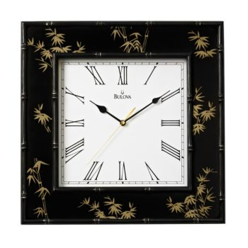 Willow II Square Wall Clock with Bamboo Motif