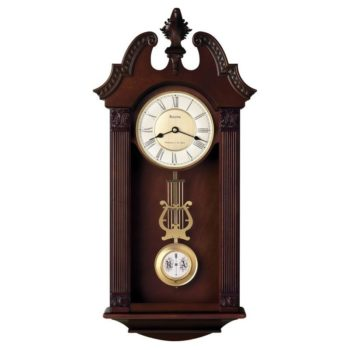Bulova Ridgedale Wall Chime Wood Clock – Black Hands – White Dial – C4437